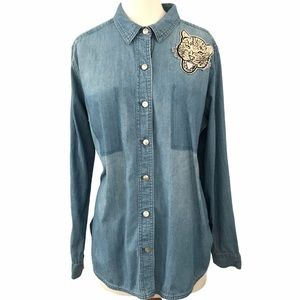 Mossimo Supply Co Cheetah Patch Chambray Top